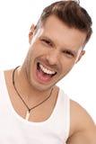 Retrato do homem novo shouting Imagens de Stock Royalty Free
