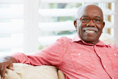 Retrato do homem superior feliz em casa Imagens de Stock