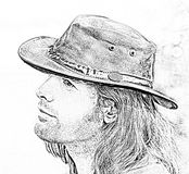 Retrato do indivíduo do close-up no chapéu de vaqueiro Safari do estilo Ilustração da forma ilustração royalty free