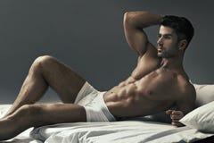 Retrato do indivíduo novo muscular Foto de Stock Royalty Free