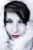 Retrato do inverno com pele Fotografia de Stock