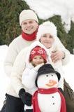 Retrato do inverno da família Imagens de Stock Royalty Free