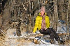 Retrato do inverno da menina Foto de Stock