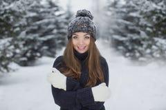 Retrato do inverno da menina bonita nova Fotos de Stock Royalty Free