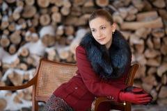 Retrato do inverno da menina em uma lenha do fundo Foto de Stock