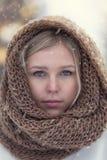 Retrato do inverno da menina loura nova atrativa que veste a baixada feita malha coberta na neve fotografia de stock