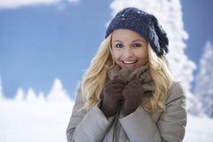 Retrato do inverno da mulher atrativa foto de stock