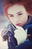 Retrato do inverno da mulher nova imagem de stock