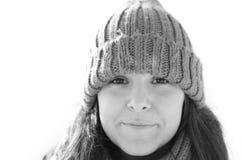 Retrato do inverno de uma menina Foto de Stock