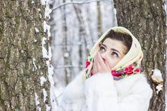 Retrato do inverno de uma menina Imagem de Stock Royalty Free