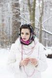 Retrato do inverno de uma menina Fotografia de Stock