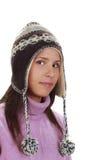 Retrato do inverno de uma mulher foto de stock