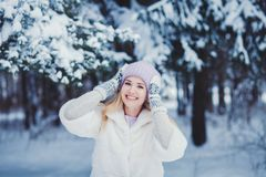 Retrato do inverno de uma mulher de sorriso em um chapéu fotografia de stock royalty free
