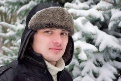 Retrato do inverno do homem novo Fotografia de Stock