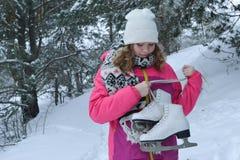 Retrato do inverno nas pele-árvores Fotografia de Stock Royalty Free