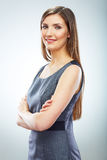 Retrato do isola branco de sorriso novo do fundo da mulher de negócio Fotos de Stock