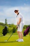 Retrato do jogador de golfe do menino Imagens de Stock Royalty Free
