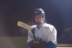 Retrato do jogador de hóquei em gelo Foto de Stock Royalty Free