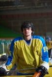 Retrato do jogador de hóquei em gelo Imagens de Stock Royalty Free