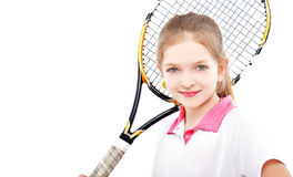 Retrato do jogador de tênis bonito da menina Imagens de Stock Royalty Free