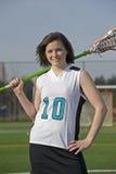 Retrato do jogador do Lacrosse das meninas Fotos de Stock Royalty Free