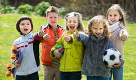 Retrato do jogo das meninas e dos meninos da escola júnior Foto de Stock