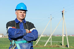 Retrato do lineman do poder do eletricista Imagem de Stock