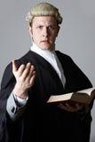 Retrato do livro de Holding Brief And do advogado que faz o discurso fotos de stock