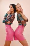 Retrato do louro 2 feliz bonito e das amigas sensuais das jovens mulheres 'sexy' morenos que estão junto em saias de couro cor-de Fotos de Stock Royalty Free
