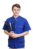 Retrato do médico novo seguro no fundo branco Fotografia de Stock