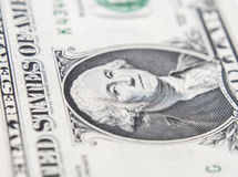 Retrato do macro de Benjamin Franklin de cem dólares de bil Fotografia de Stock