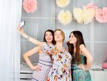 Retrato do meninas elegantes atrativas novas em um dre brilhante Imagem de Stock