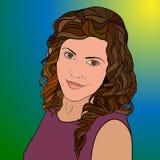 Retrato do meninas encaracolado-de cabelo de sorriso Fotos de Stock Royalty Free
