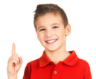Retrato do menino alegre com boa idéia Foto de Stock Royalty Free
