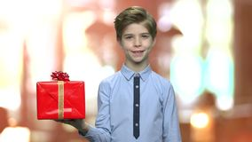 Retrato do menino bonito com caixa de presente vídeos de arquivo