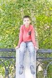 Retrato do menino bonito das sardas Fotos de Stock Royalty Free