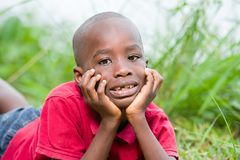 Retrato do menino bonito que encontra-se em ervas verdes frescas fotos de stock