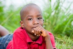 Retrato do menino bonito que encontra-se em ervas verdes frescas imagem de stock