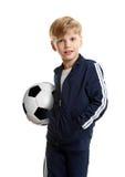 Retrato do menino com bola de futebol Imagem de Stock Royalty Free