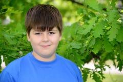 Retrato do menino de aproximadamente 12 anos em Oak Park Fotos de Stock