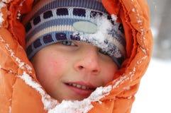 Retrato do menino do inverno Imagem de Stock