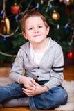 Retrato do menino do Natal Fotos de Stock
