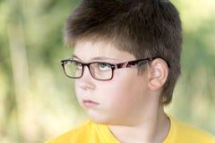 Retrato do menino dos anos de idade 10 no parque Fotos de Stock