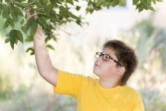 Retrato do menino dos anos de idade 10 no parque Imagens de Stock