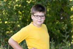 Retrato do menino dos anos de idade 10 no parque Fotografia de Stock Royalty Free