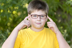 Retrato do menino dos anos de idade 10 no parque Imagens de Stock Royalty Free