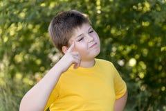 Retrato do menino dos anos de idade 10 no parque Imagem de Stock