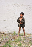 Retrato do menino nepalês do pastor com uma haste Imagem de Stock
