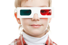 Retrato do menino nos vidros 3d Imagem de Stock