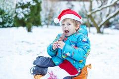 Retrato do menino pequeno da criança três anos velho no inverno Imagem de Stock Royalty Free